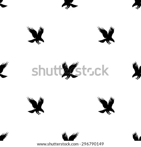Seamless pattern with silhouettes of flying eagle black on a white background - stock vector