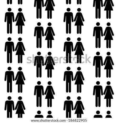 Seamless pattern with silhouettes of the person of different color. - stock vector