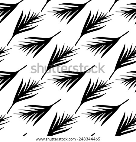 Seamless pattern with silhouettes palm leaves in black and white. Natural repeating monochrome print texture. Cloth design. Wallpaper, wrapping - stock vector