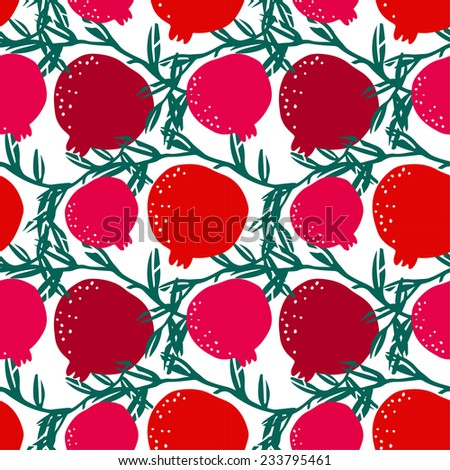 Seamless pattern with silhouettes pomegranate fruits and leaves. Floral repeating background. Natural print texture. Cloth design. Wallpaper  - stock vector