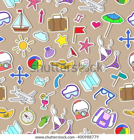 Seamless pattern with simple hand-drawn colored icons on the theme of summer and holiday, stickers on brown background