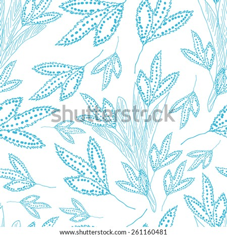 Seamless pattern with sketch floral elements. Blue hand drawn leaves on white background. - stock vector