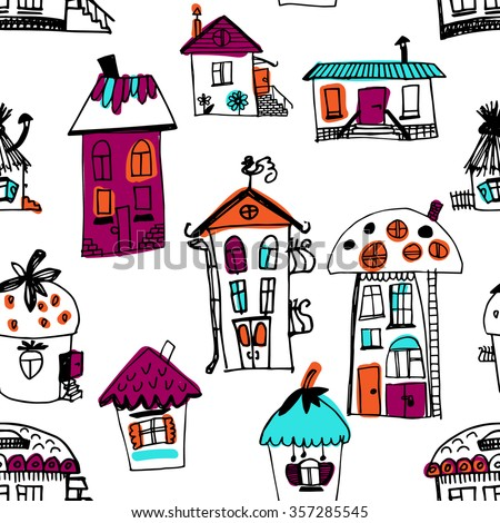 Seamless pattern with sketched houses. Seamless hand drawn buildings in vintage style. Vector illustration.