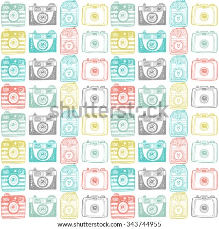 Seamless pattern with sketched retro cameras - stock vector