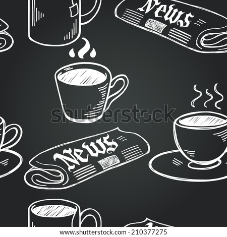 Seamless pattern with sketchy hand drawn coffee cups and newspapers on chalkboard background. Coffee break illustration. - stock vector