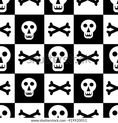 Seamless pattern with skulls and bones on black and white squares in a checkerboard pattern.Vector illustration for fabric,textile or scrapbooking. Suitable for the holiday Halloween. - stock vector