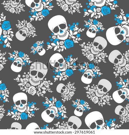 Seamless Pattern With Skulls And Roses In Grey White Blue Colors Vector Illustration