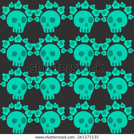 seamless pattern with skulls and roses. Mexican Day of the Dead. Cute doodle drawing