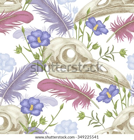 Seamless pattern with skulls, feathers and flowers. Decorative composition on the theme of death on a white background. - stock vector