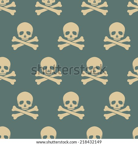 Seamless pattern with skulls. Vector illustration, EPS 8. - stock vector