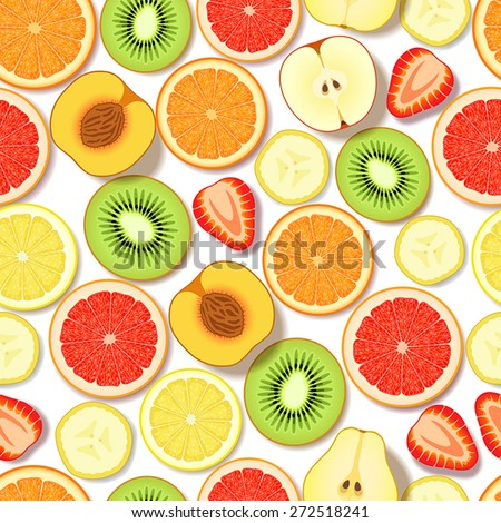 Seamless pattern with sliced fresh fruits and berries on white background - stock vector