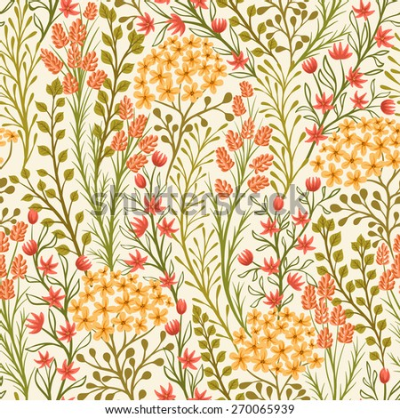 Seamless pattern with small flowers and leaves - stock vector