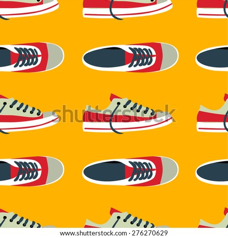 seamless pattern with sneakers - illustration - stock vector