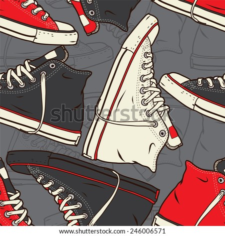 Seamless pattern with sneakers Vector background.   - stock vector