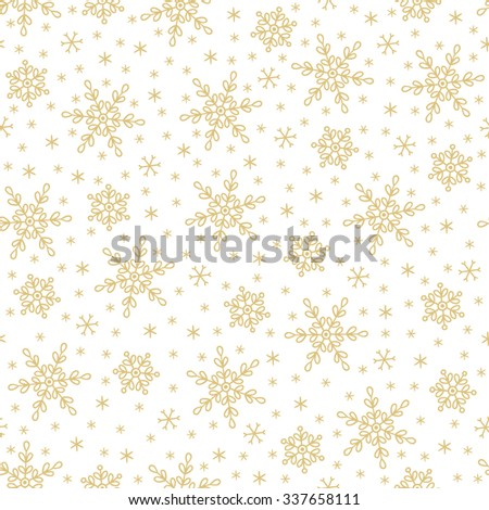 Seamless pattern with snowflakes on white background. Perfect for wallpaper, pattern fills, gift paper, Christmas and New Year greetings cards. - stock vector
