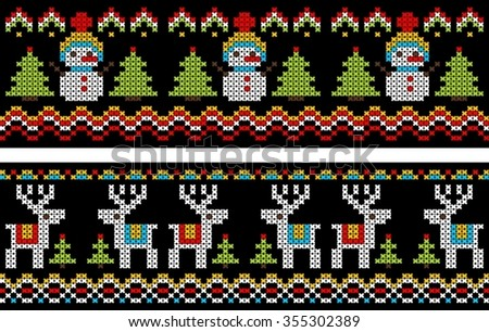 seamless pattern with snowman and deer  in cross stitch
