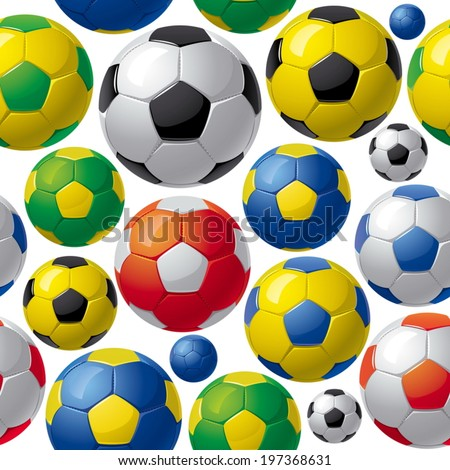 seamless pattern with soccer balls - stock vector