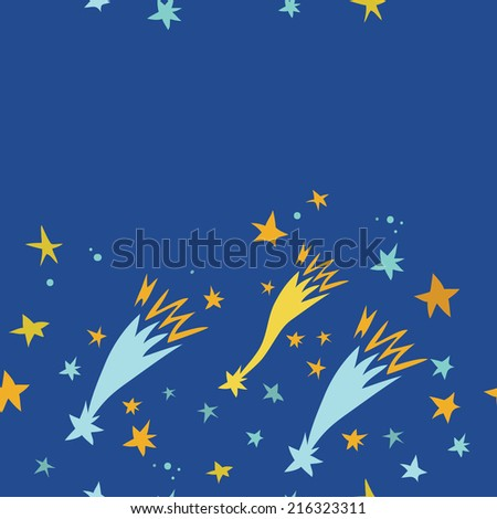Seamless pattern with space, comet and stars. Childish background. Hand drawn vector illustration.