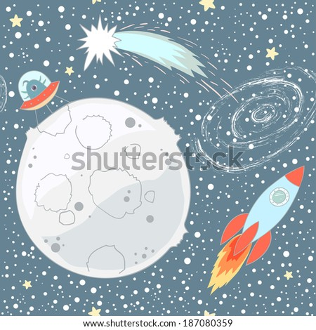 Seamless pattern with space objects: stars, rockets, the moon, comet. Vector background.