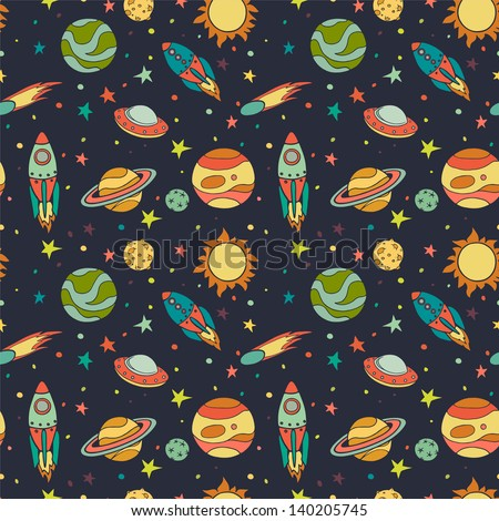 Seamless pattern with space, rockets, comet, planets and stars. Childish background. Hand drawn vector illustration. - stock vector