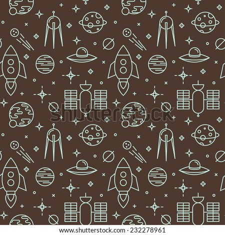 Seamless pattern with space, rockets, comet, satellites, planets and stars. Childish background. - stock vector
