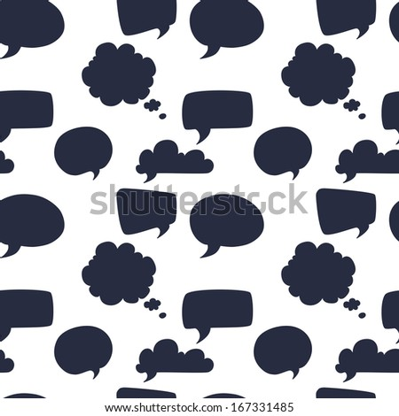 Seamless pattern with speech and thought bubbles on the white background. - stock vector