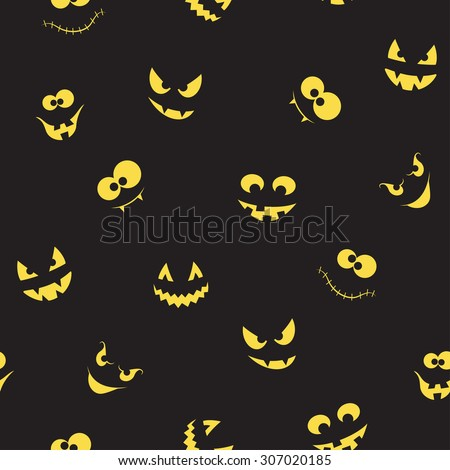 Seamless pattern with spooky and crazy pumpkins, ghosts and monsters faces in the dark for Halloween design