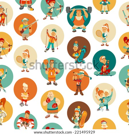 Seamless pattern with sport icons. Vector illustration - stock vector