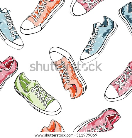 Seamless pattern with sport shoes or sneakers icons in different views. Sketch. Footwear   street style. Vector illustration.