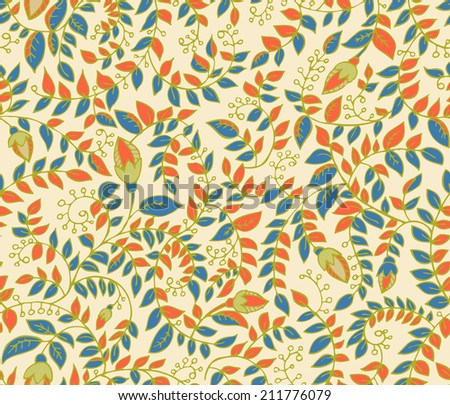 Seamless pattern with sprigs in vector