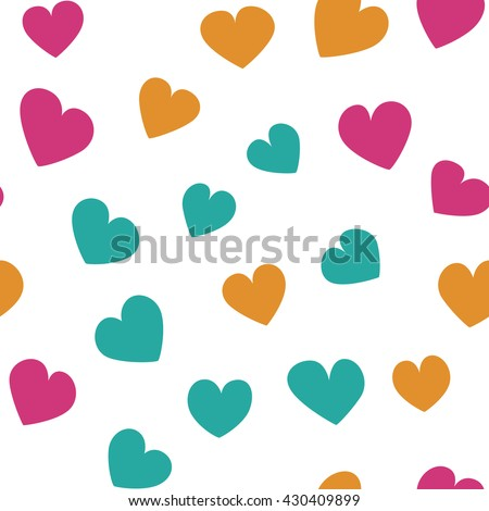 Seamless pattern with spring colored hearts on a white background. Simple vector repeating texture.