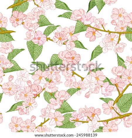 Seamless pattern with spring flowers. Cherry and apple. Summer floral background. Texture with flowering plants in doodle vintage style. Sketch. Hipster blossom design. - stock vector