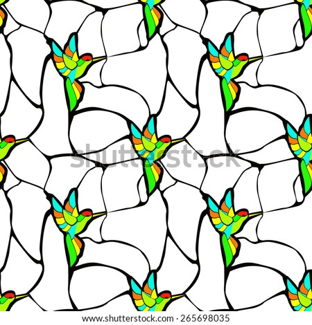 seamless pattern with stained glass hummingbirds - stock vector