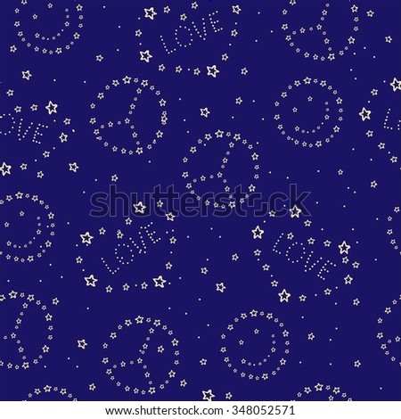 Seamless pattern with stars and LOVE and PEACE constellations. Vector illustration. Night sky, blue sky. Wrapping paper, repeating pattern.  - stock vector