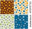 Seamless pattern with stars. Vector set. - stock vector