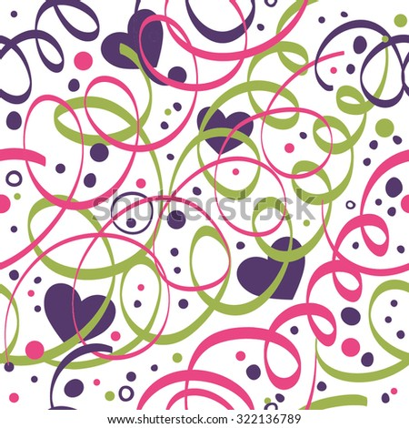 Seamless pattern with streamers, hearts and confetti. - stock vector