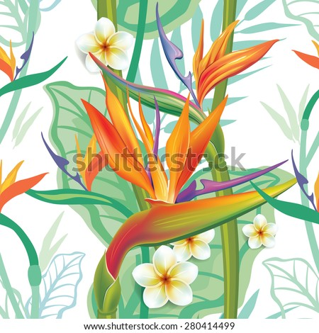 Seamless pattern with Strelitzia  - stock vector