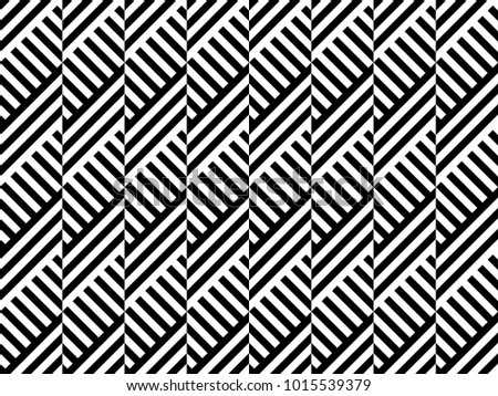 Seamless pattern with striped black white diagonal lines (zigzag, chevron). Rhomboid glume. Optical illusion effect. Geometric tile in op art. Vector illusive background. Futuristic vibrant design.