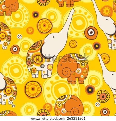 seamless pattern with stylized  animation elephants on ornament backdrop - stock vector