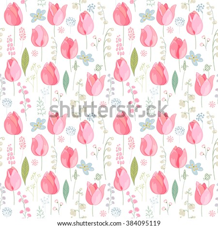 Seamless pattern with stylized cute pink tulips.  Endless texture for easter and spring design, greeting cards, fabrics, announcements, posters. - stock vector