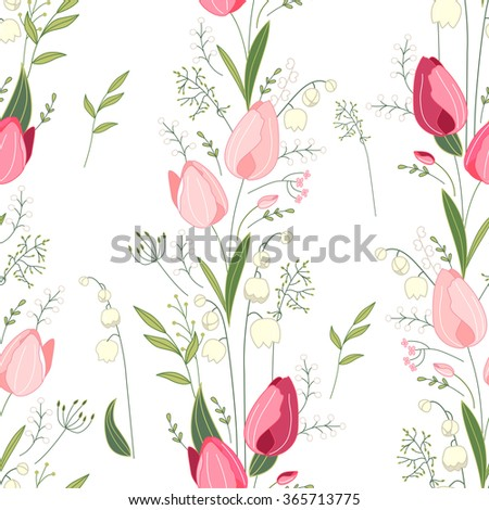 Seamless pattern with stylized cute red tulips.  Endless texture for your design, greeting cards, announcements, posters. - stock vector