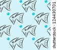 Seamless pattern with stylized fishes - stock vector