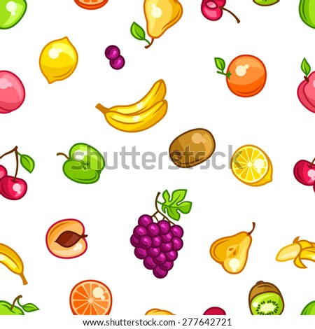 Seamless pattern with stylized fresh ripe fruits.