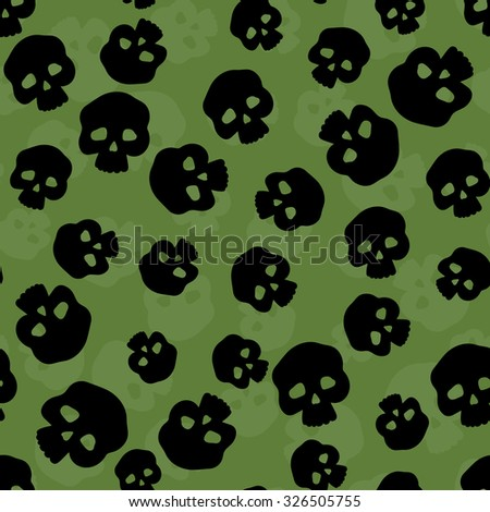 Seamless pattern with stylized human skulls. Halloween background. - stock vector