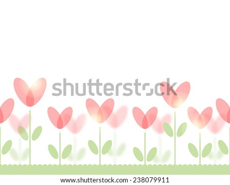 Seamless pattern with stylized red flowers on green lawn - stock vector