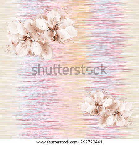 Seamless pattern with stylized spring flowers on grunge striped background in pastel colors - stock vector