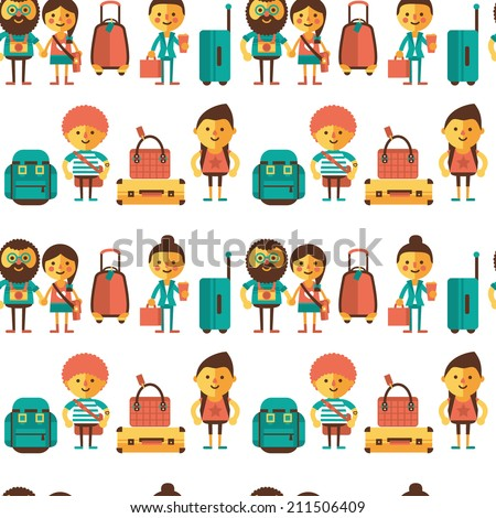 Seamless pattern with suitcases, bags and travelers on a light background. - stock vector