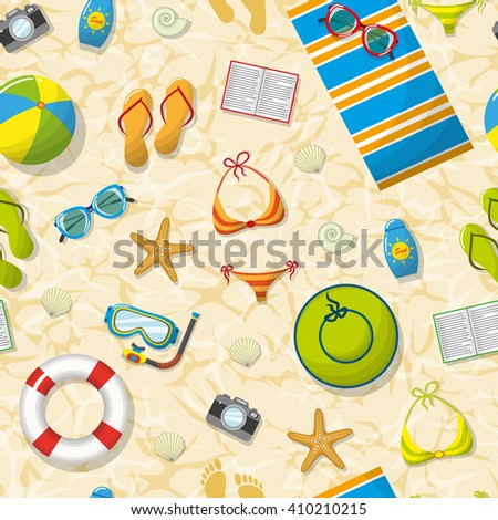 Seamless pattern with summer accessories on beach - stock vector