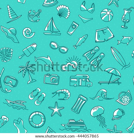 Seamless Pattern with Summer Beach Line Objects.  - stock vector