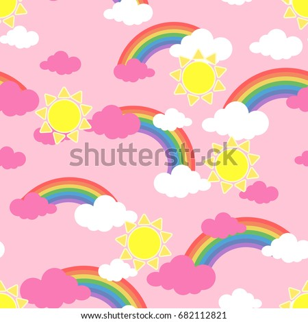Seamless pattern with sun. clouds and rainbow. Wallpaper for children room